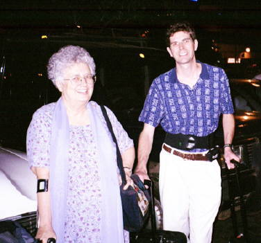 Dorothy Watts with Pastor Jeff Jordan at airport Nov. 20, 2002 in Chennai, Indi