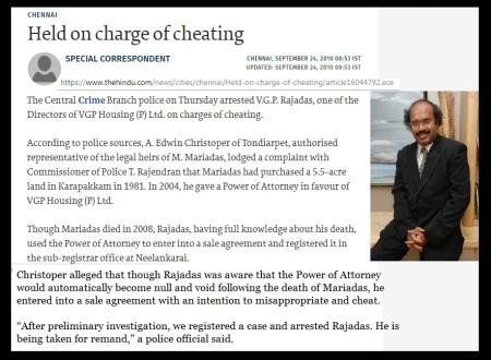 VGP Rajadass arrested 23-09-2010