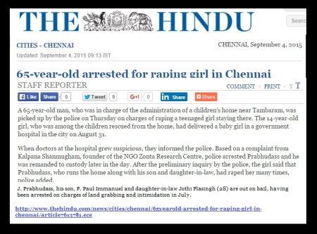 65-years old arrestred for raping girl in chennai-Sept.4, 2015, The Hindu