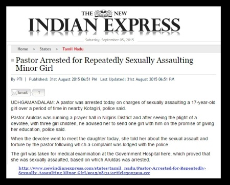 Aruldass arrest - Indian Express news