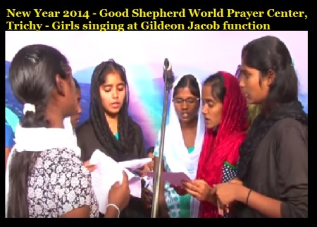 New Year 2014 - Good Shepherd World Prayer Center, Trichy - girls singing at