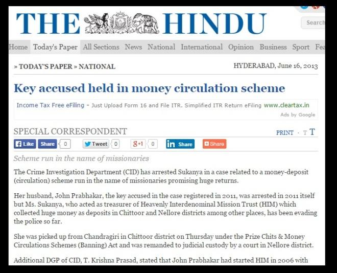 HIM JOhn Prabhakars wife Sukanya arrested June 2013