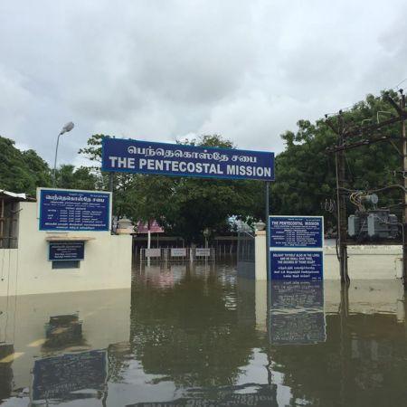 Pentacostal mission, Irumpuliyur, Tambaram - flooded Dec.2015