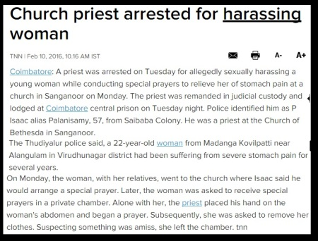 Church priest arrested for harassing wown - TOI - 1