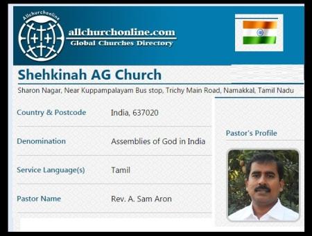 A Sam Aron AG Shekkinah Church Namakkal