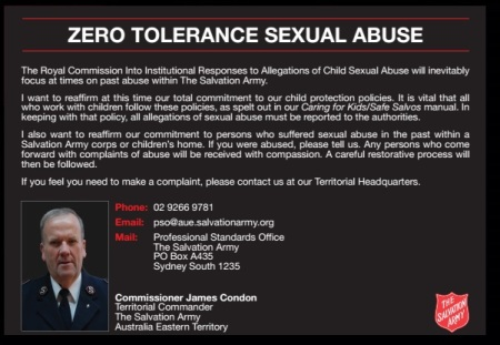 salvation army enquired for sexual abuses