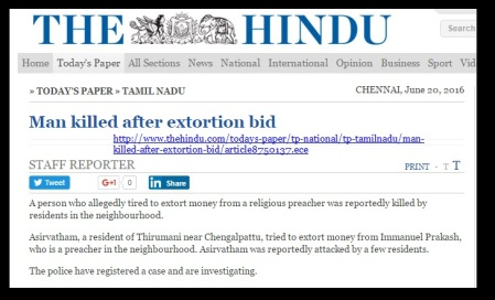 Zion church - Immanuel Prakash- The Hindu way of reporting