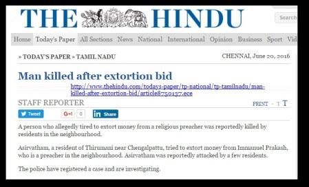 Zion church - Immanuel Prakash- The Hindu way of reporting