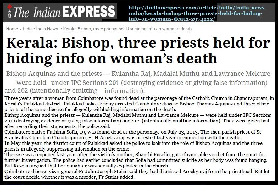 Bishop Thomas Aqunas, Coimbatore diocese-arrested -Indian Express