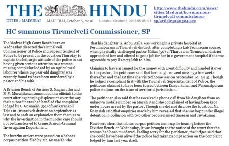 milan-singh-pastor-murdered-stella-hc-summons-tirunelveli-sp-the-hindu-06-10-2016