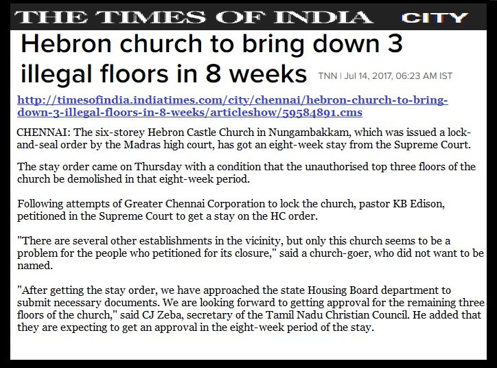 Hebron church dedmilition stayed by SC - TOI, chennai