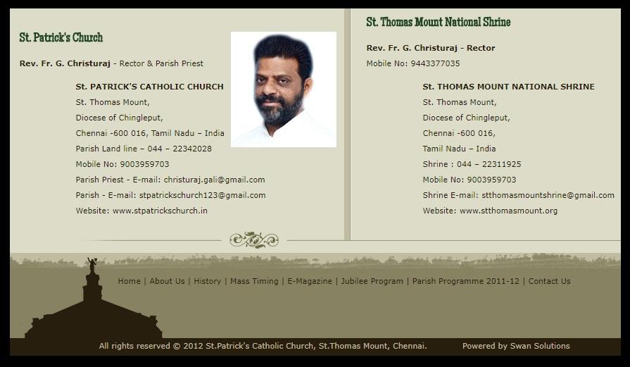 G. Christu Raj, Rector, Parish priest, St.Patrick Church, Parangai malai