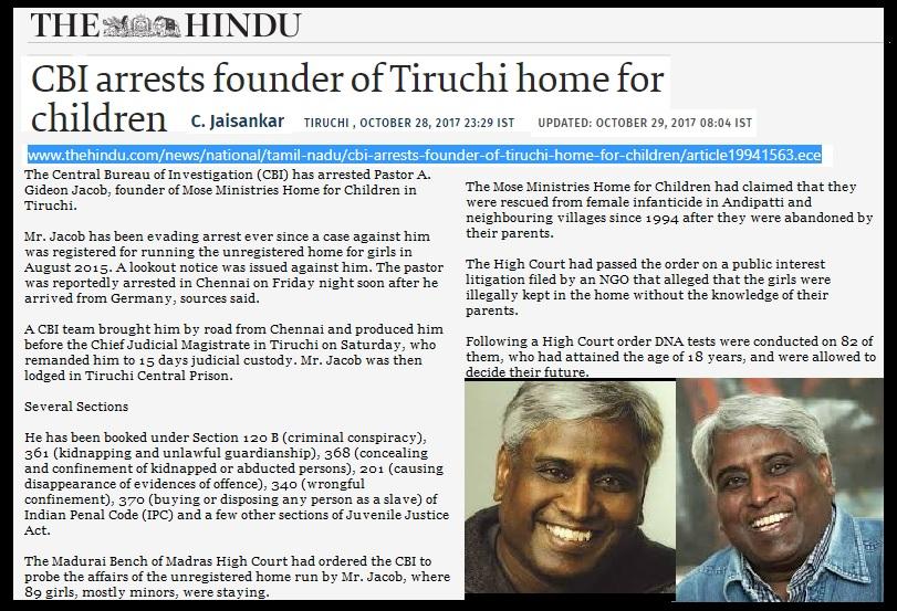 Gideo Jacb arrested-pedophile 27-10-2017-The Hindu