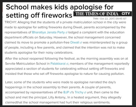 School kids made o apologize for celebrating Deepavali