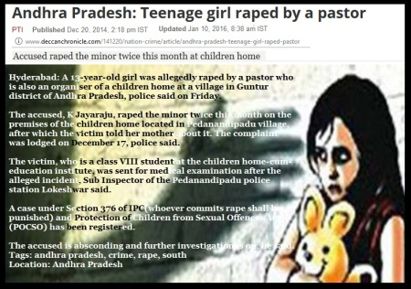 13-yr girl raped by pastor Hyderabad- 19-12-2014-Deccan Herald