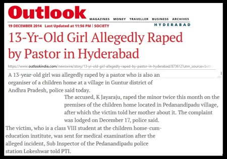 13-yr girl raped by pastor Hyderabad- 19-12-2014