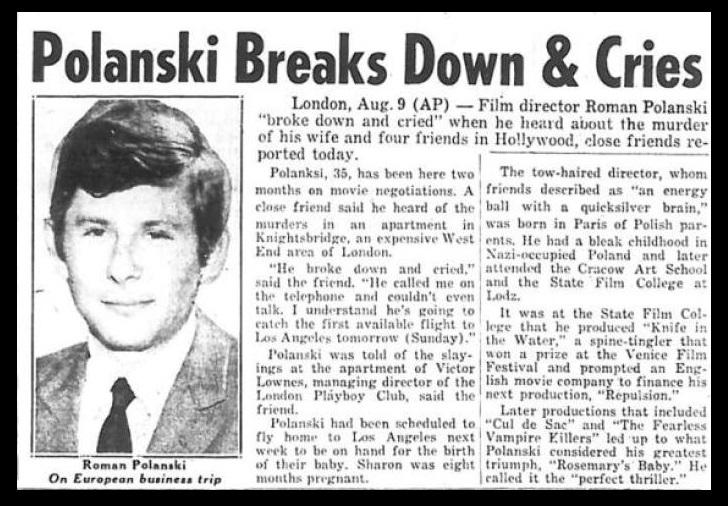 Charles Manson - Polanski-Sunday News, 10-08-1969