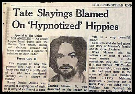 Charles Manson - Tate slayings blamed Hippes