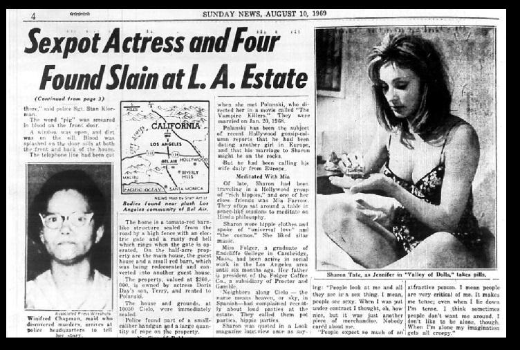 Charles Manson - victims killed-Sunday News, 10-08-1969