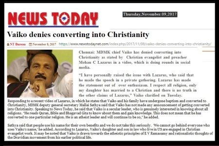 Vaiko converted, Lazaraus claimed, News Today 08-11-2017