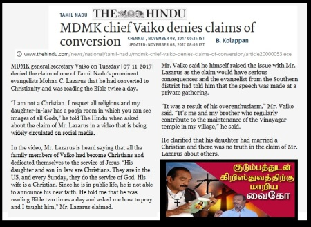 Vaiko converted, Lazaraus claimed, The Hindu 08-11-2017