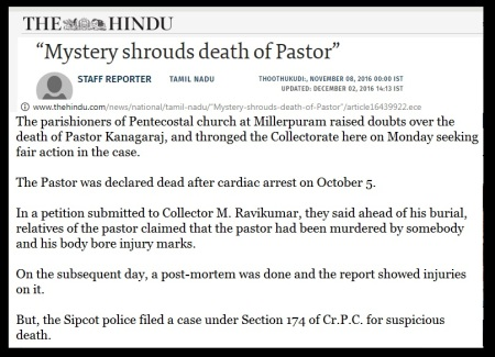 Tutocorin pastor murder- The Hindu, 08-11-2016