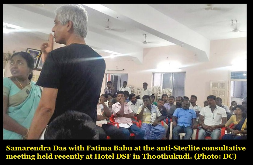 Samarendra Das with Fatima Babu at the anti-Sterlite consultative meeting held recently at Hotel DSF in Thoothukudi. Photo- DC
