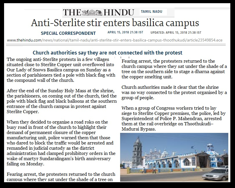 Tuticorin - church connection - The Hindu- 15-04-2018