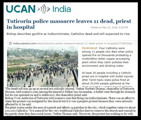 Tuticorin - UCA news Catholic killed changed to massacre - 23-05-2018