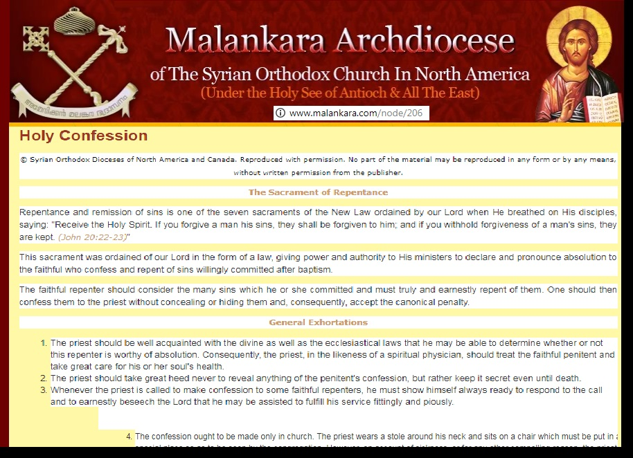 Malankara orthodox confession , etc