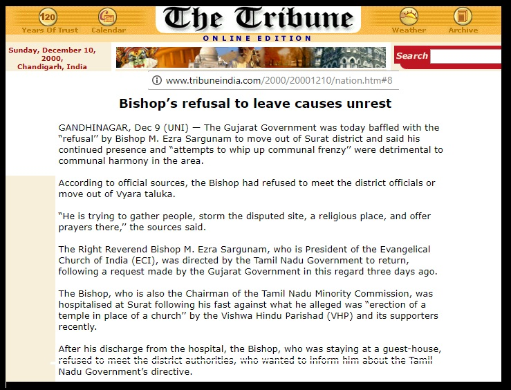 Bishop refused to leave causes unrest, The Tribune, 09-12-2000