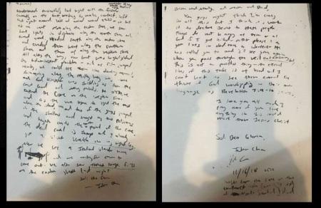 John Chau letter - plan to convert