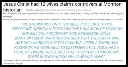 Jesus had 12 wives.prof-1