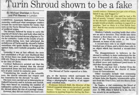 Turin shroud fake- news cutting
