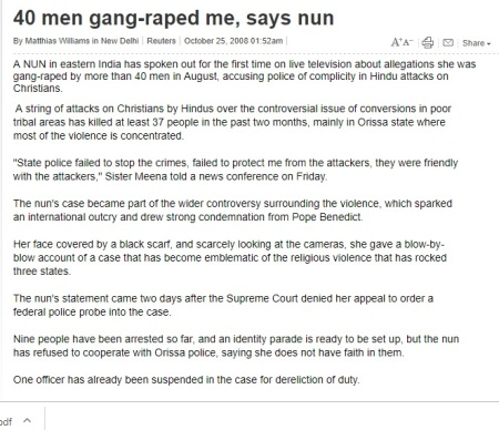 40 raped nun, Australian press 2008