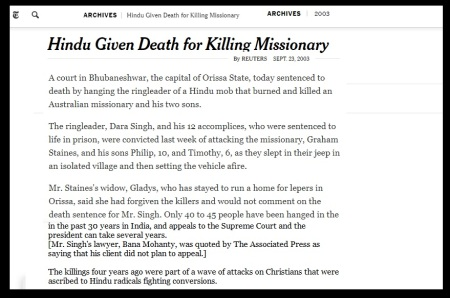 Hindu Given Death for Killing Missionary- New York times 2003