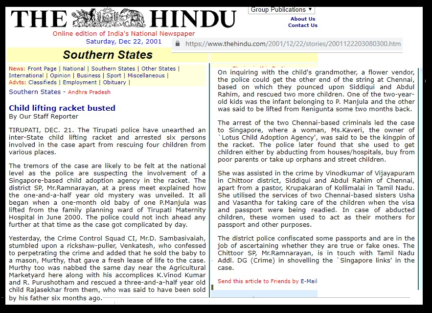 Kollimalai child traficking pastor Krupakaran arrested 12-2001