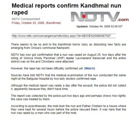 Raped nun,medical report, NDTV 2008