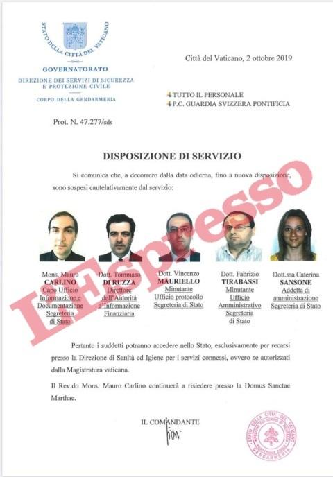 Vatican bank -02-10-2019, five officers suspended