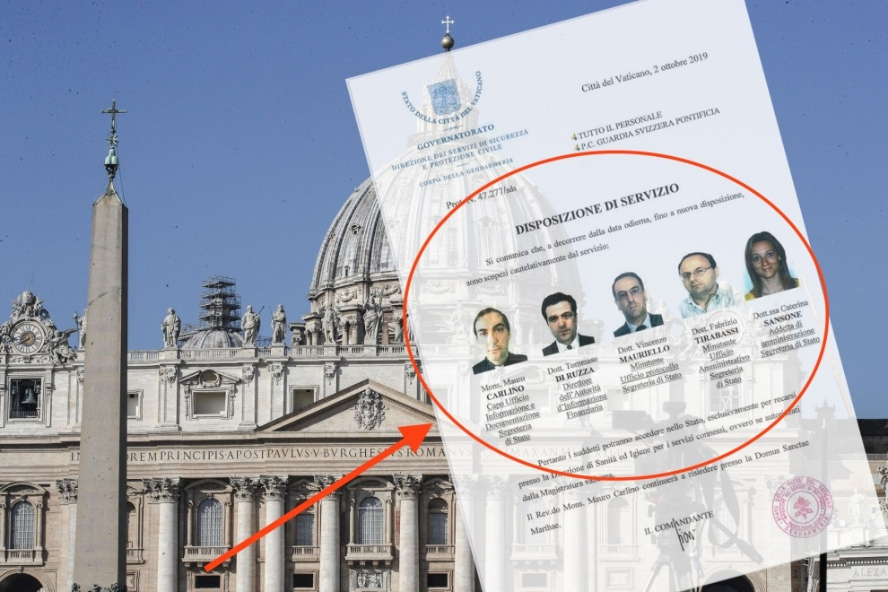 Vatican bank scandal, 02-10-2019, five officers suspended