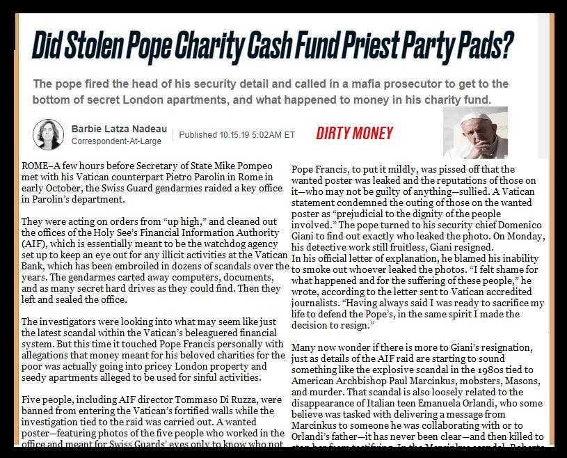 Vatican bank scandal, 15-10-2019
