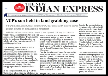 Rajadas arrested, VGP and scam-3 Indiann express