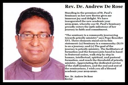 St Paul seminary- M. Prasath sucide, Andrew De Rose, rector