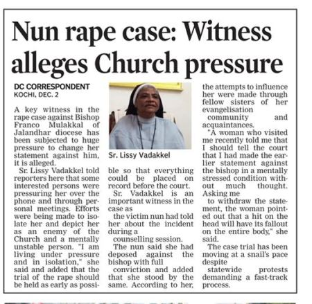 Nun rape case, pressure brught on witnesses 03-12-2019