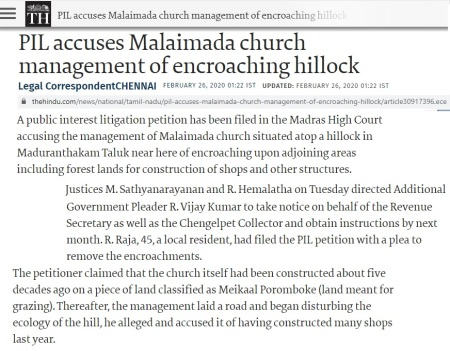 Hillock encroached, The Hindu 02-2020